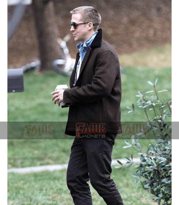First Man Ryan Gosling Mens Brown Wool Winter Jacket On Sale