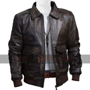 Mens USAF Air Force Flight Brown Bomber Leather Jacket Sale