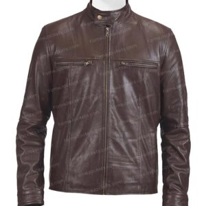 Mens Brown Real Lambskin Leather Motorcycle Jacket