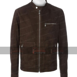 Men Casual Real Brown Slim Fit Suede Leather Jacket On Sale
