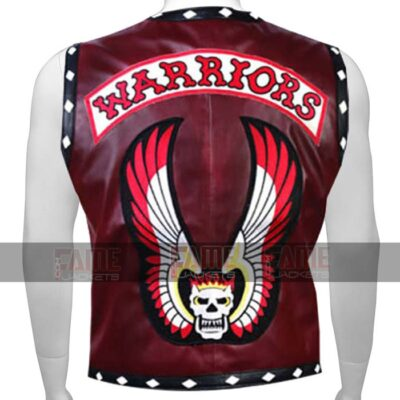 Warriors Vintage Real Leather Vest With Flaming Skull On Sale
