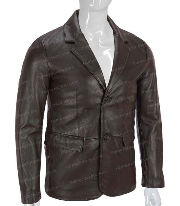 Mens Brown Real Leather Office Blazer On Sale