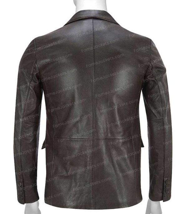 Mens Brown Real Leather Casual Office Blazer On Sale
