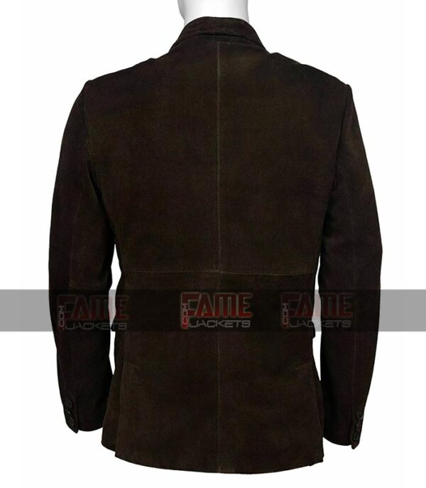 Mens Brown Real Suede Leather Office Casual Blazer On Sale