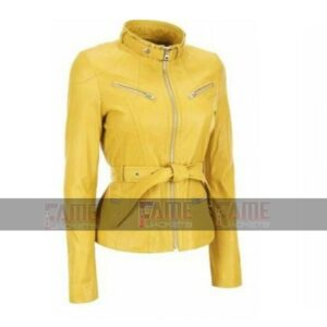 Women New Yellow Leather Moto Belted Jacket Online