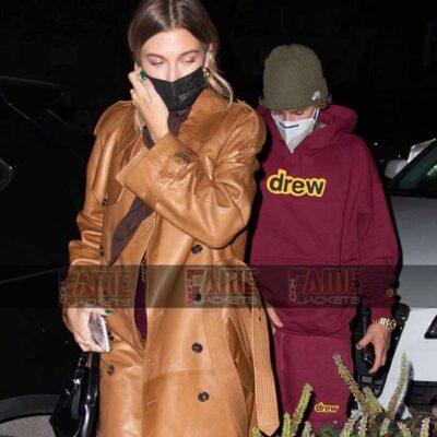 Hailey Bieber Tan Brown Leather Coat