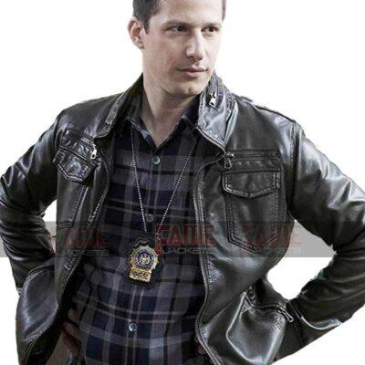 Brooklyn Nine Nine Jake Peralta Black Real Leather Jacket For Men On Sale