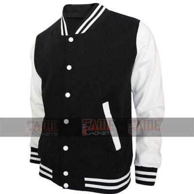 High school black letterman jacket