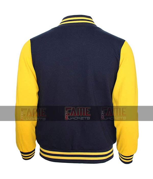 High School Letterman Varsity Navy and Yellow College Jacket For Boys And Girls