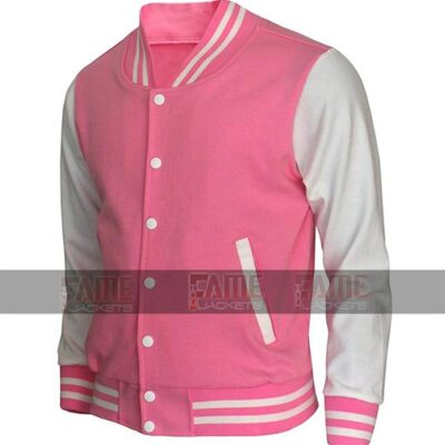 Girls High School Letterman Varsity Pink And White College Jacket