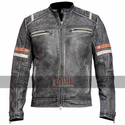 Men Retro Moto Vintage Distressed Cafe Racer Biker Leather Jacket For Men