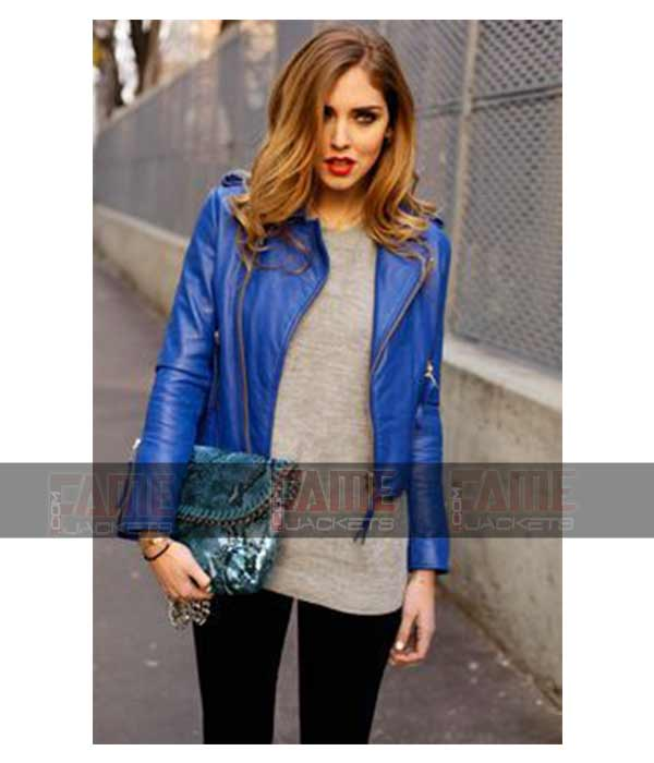 Blue Leather Womens Motorcycle Jackets