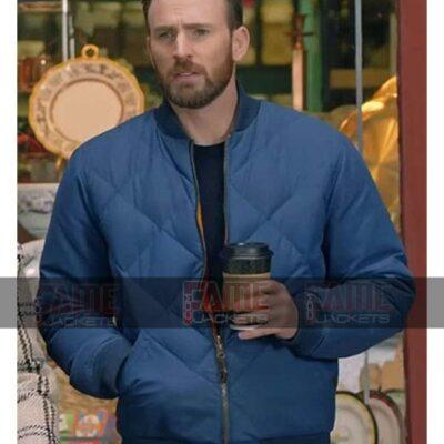 Chris Evans Captain America Quilted Bomber Jacket For Men