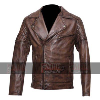 Men Quilted Vintage Brown Leather Cafe Racer Jacket