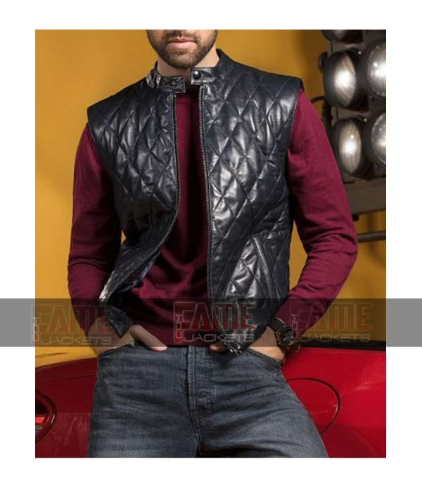 Mens New Style Quilted Black Real Leather Vest