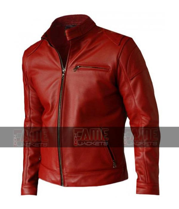 Mens Red Sheep Leather Motorcycle Cafe Racer