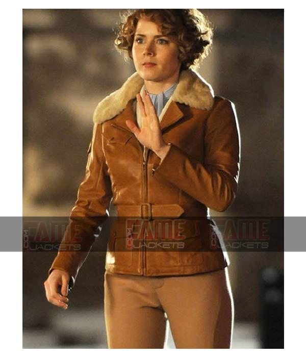 Amy Adams Aviator Jacket Tan Brown Leather WW2 Shearling Jacket For Women