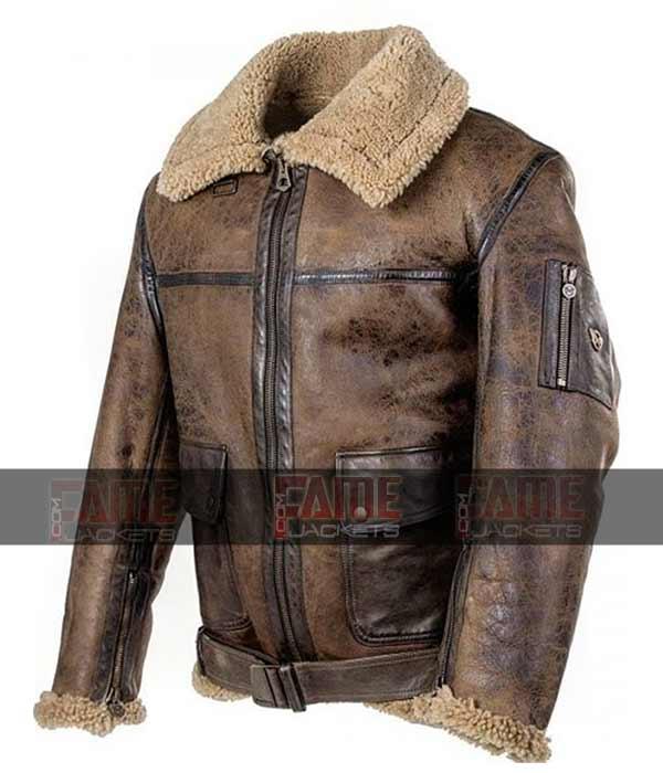 Arnold Schwarzenegger Aviator RAF B3 Shearling Leather Flight WW2 Bomber Jacket