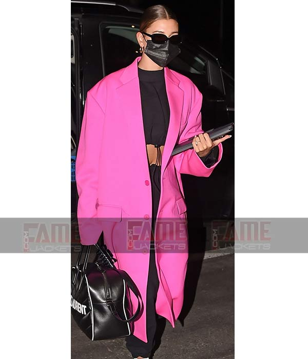 Hailey Bieber In Pink Cotton Long Over Sized Winter Coat