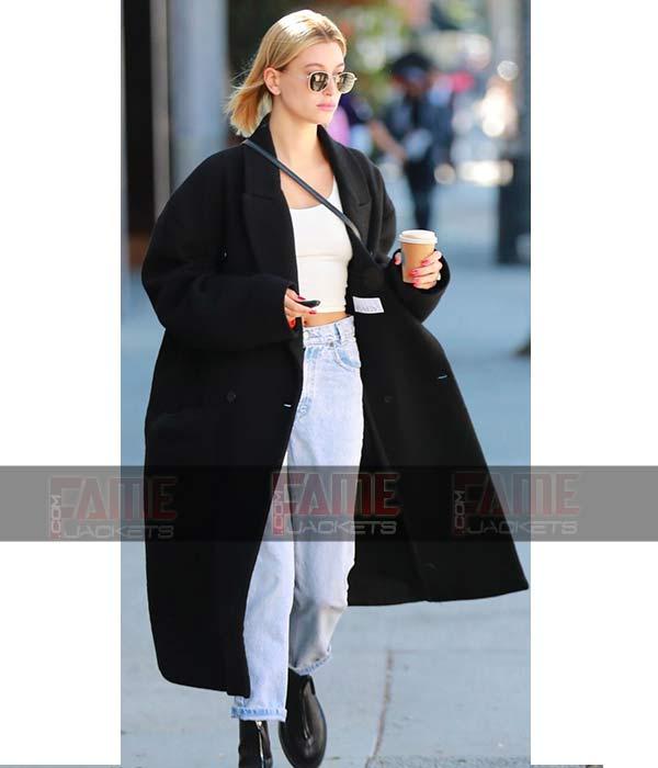 Hailey Rhode Bieber Oversized Long Black Winter Coat