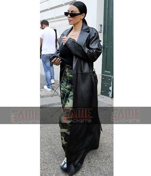 Buy Sexy Kim Kardashian Leather Coat on Sale