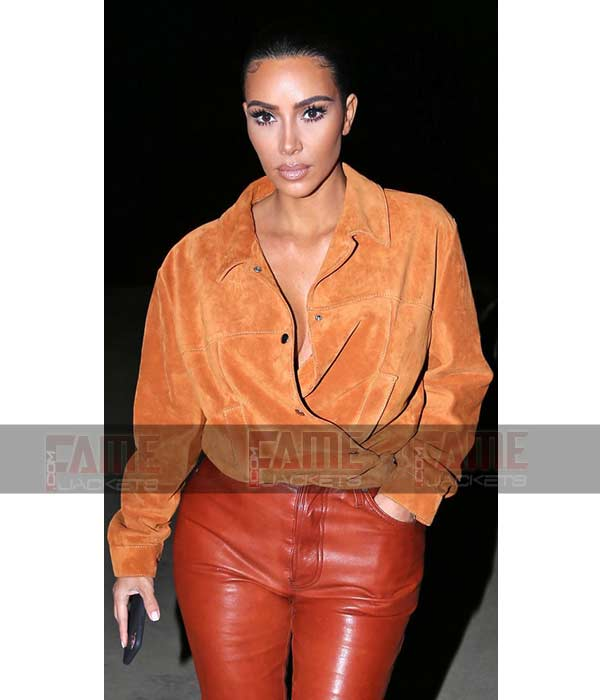 Kim Kardashian Suede Leather Stylish Shirt