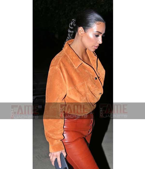 Kim Kardashian Tan Brown Suede Leather Stylish Shirt