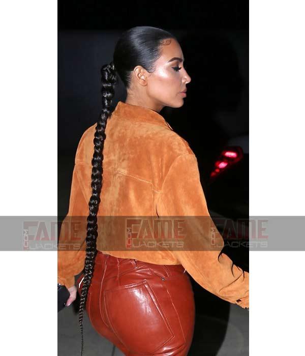 Kim Kardashian Women Tan Brown Suede Leather Stylish Shirt