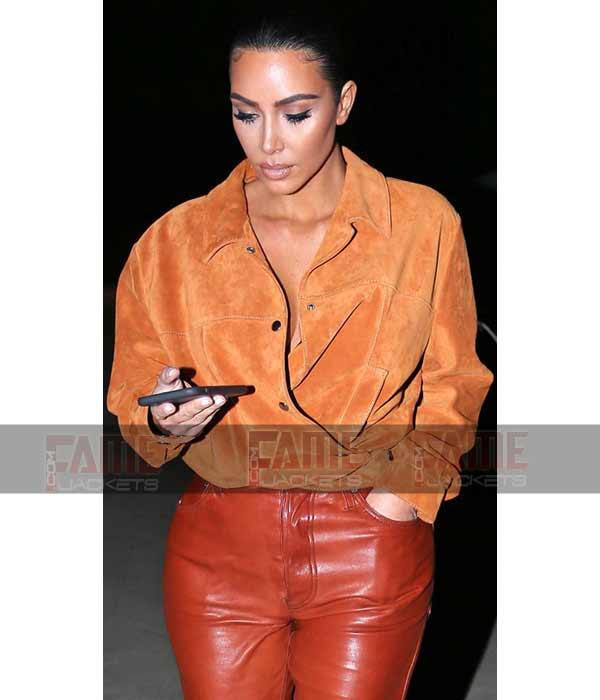 Kim Kardashian Tan Brown Suede Leather Shirt