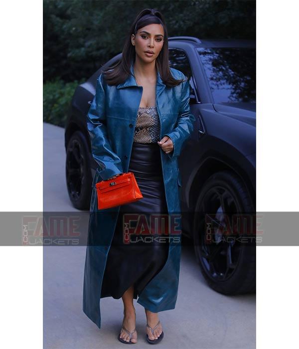 Kim Kardashian Blue Leather Trench Winter Coat For Women