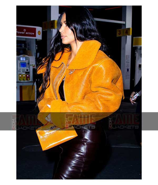 Kim Kardashian Yeezy Season 3 Orange Leather Shearling Jacket