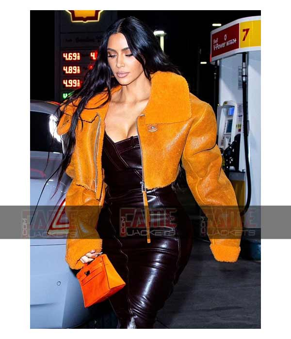 Kim Kardashian Yeezy Season 3 Orange Leather Women Shearling Jacket