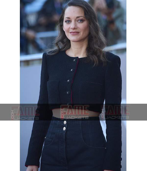 Marion Cotillard Bigger than us Black Cropped Wool Jacket For Women