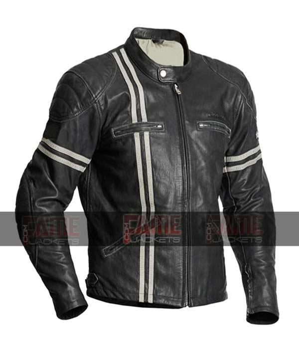 Black Biker Leather Jacket In Black Sheep Leather For Men