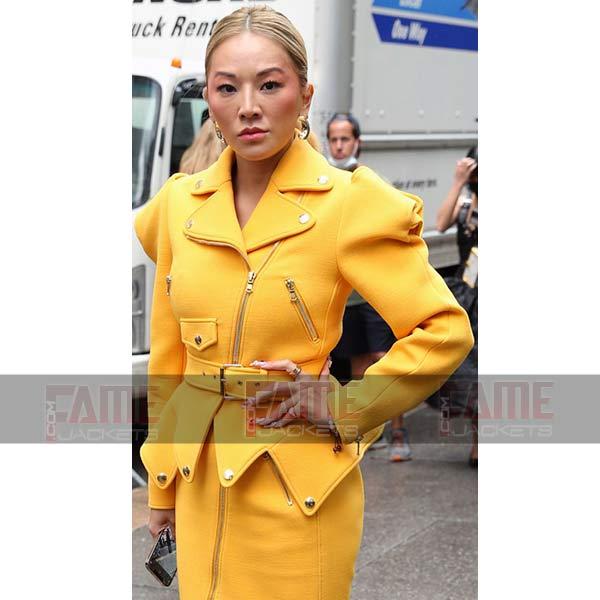 New And Stylish Tina Leung Women Yellow Leather Jacket
