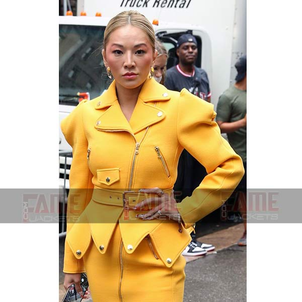 Latest Tina Leung Womens Yellow Leather Jacket