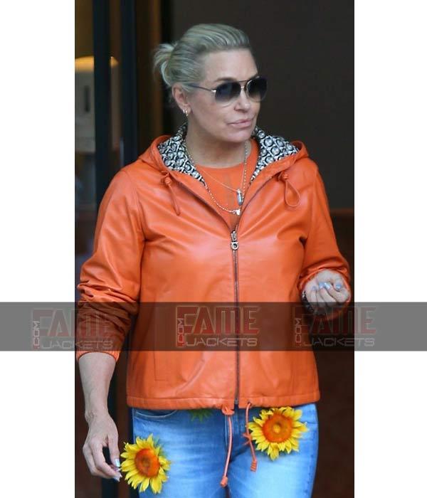 Yolanda Hadid Womens Orange Real Leather Jacket With Hood